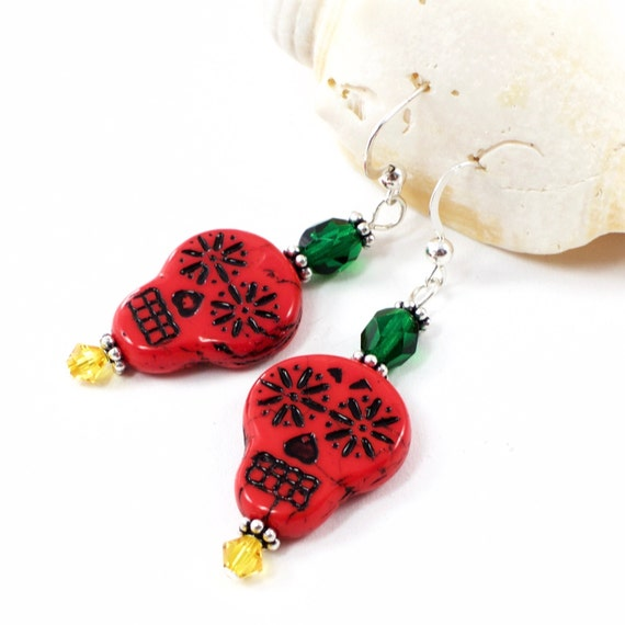 Red Sugar Skull Earrings | Colorful Decorated Skull Earrings  | Day Of The Dead Skull Jewelry | Calavera Earrings | Solana Kai Designs