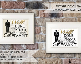 """LDS Missionary, """"Well Done Thou Good and Faithful Servant""""  8x10 Digital Download  comes with both Cream & White background"""