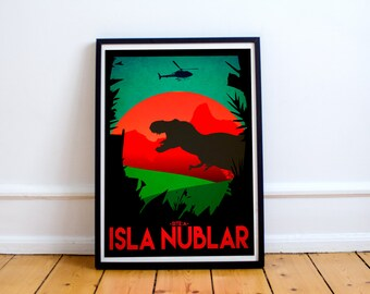 Isla Nublar Travel Poster - Jurassic Park Art Print - Site A - Wall Art Print - T-Rex - (Available In Many Sizes)