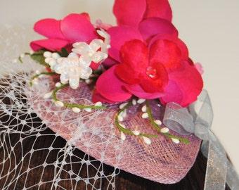 Hot Pink Fascinator - Floral Fascinator - Wedding Guest Fascinator - Pink Wedding Fascinator- Pink Fascinator Headpiece - Wedding Hat