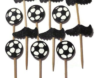 soccer cupcake toppers, soccer party supplies, soccer balls, cleats, boys sports birthday decorations, childrens party ideas, 12 CT