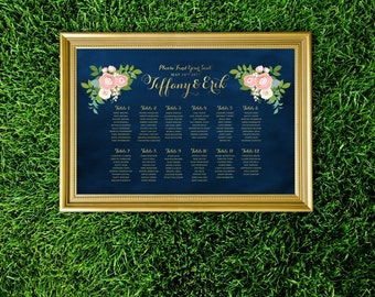 The JENNY . Seating Chart Wedding Sign Table Names . Alphabetical Gold Calligraphy & Navy Chalkboard Ranunculus Rose Pink Peony Dusty Miller
