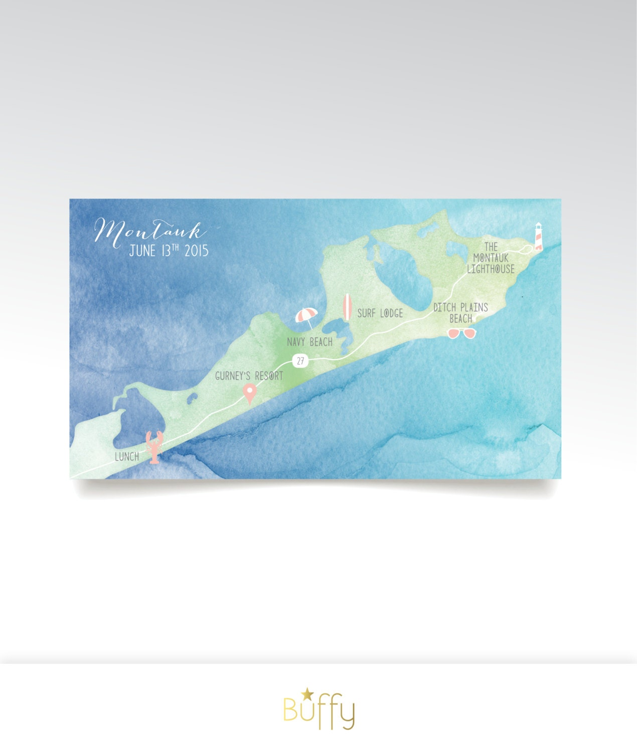 Level 3 Map  Montauk East Hampton New York Map 5 x 7in Card