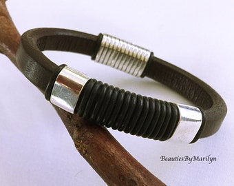 Men's Bracelet. Dark Brown Leather Bracelet. Reggaliz - Licorice with O Black Rings and Magnetic Clasp. #2PH6