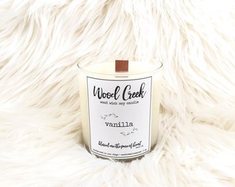 Lavender Wood Wick Soy Candle, Hand-Poured and Handmade Candle, Holiday Gift Idea, Modern Apothecary Label