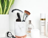 Marble Pot with Copper Lid, Carrara Marble Jar, Makeup Brush Holder, Bathroom Toiletries, Marble accessories