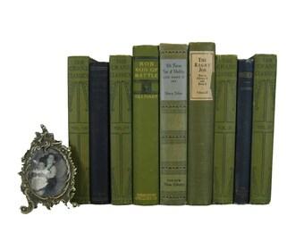Green book decor , antique books ,  green wedding decor , photo prop , table decorations , book bundle, library decor ,  vintage book decor