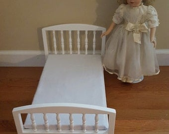 1:4 scale White Spindle bed/ American girl doll sized bed/ 18 inch doll bed/ 1/4 scale bed/ wooden doll bed/ historical doll furniture