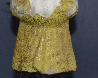 """HOLIDAY SALE! Antique German St. Nick 9 1/2"""" Gold Robe Yellow BELSNICKLE Santa Claus Paper Mache Mica Candy Container Rare Holiday Decor"""