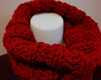 Women's Crochet Bulky Cowl in Cranberry red.