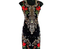 Adriana Gold Embroidered Dress, Red Rose 1950's Vintage Style Dress, Crystal Bead Floral Blossom Dress, Evening Tunic Dress, Indian Dress L