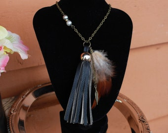 Long Tassel Necklace, Feather Necklace, Leather Fringe Necklace, Boho Jewelry, Festival Wear, Up-cycled Necklace - 00014