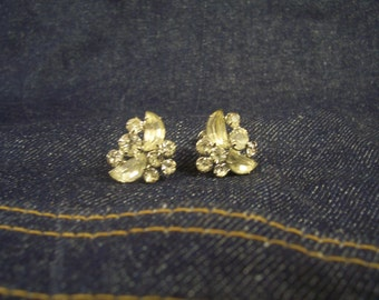 Vintage Rhinestone Screw Back Earrings.