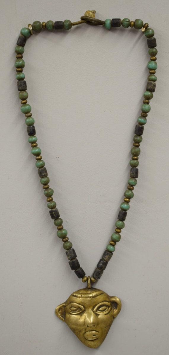 Naga Necklace Brass Head Pendant India Handmade Dark Blue Green Beads Trophy Naga Brass Head Necklace Unique