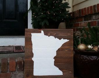 17x17 Wood State Wall Art -Minnesota, MN  painted silhouette