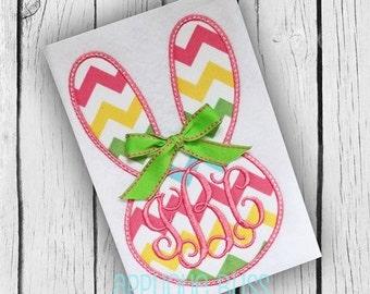 Monogram Bunny Rabbit Face Digital Applique Design - Easter Applique Design - Easter Embroidery Design - Bunny Applique - Bunny Embroidery
