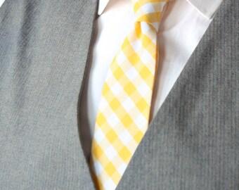 Mens Tie TC105 Yellow plaid necktie Handmade Cotton Men's necktie Boom Bow