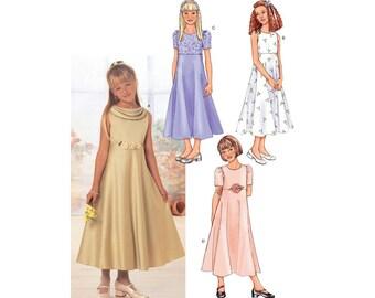"Girls' Raised-Waist Dress Sewing Pattern Sleeveless or Short Sleeves, Midi Length Size 12, 14, 16 Bust 30"", 32"", 34"" Uncut Butterick 3714"