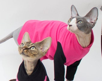 Sphynx Cat Clothes customizable Pink Body, Black Sleeve & Colors. Short / long sleeves.  Cat Lover Gift Halloween Sphynx Clothes