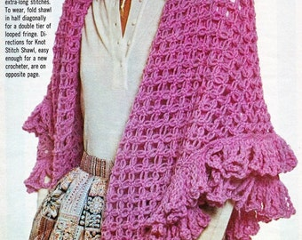 Crocht Wrap Pink Lover's Knot-stitch Shawl - Gossamer Triangle Shawl Lace Pattern Shawl  Scarf  Wrap-  PDF Download