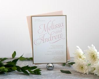 Classic & Elegant Wedding Invitation Sample in Blush and Gold