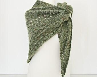 Knitted wool shawl Green knitted shawl Green wraps shawl Triangular shawl Hand knit shawl Knitted shawl Green Knit Shawl Xmas gift shawl