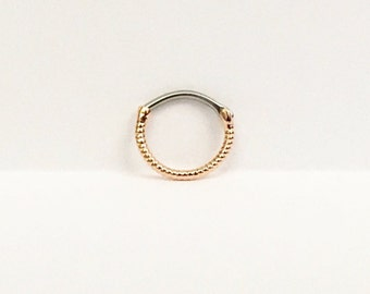 Twisted Rope Rose Gold Round Septum Clicker 16 Gauge(NPC-17),Surgical Steel,Septum Jewelry,Nose Ring,Nose Piercing,Rose Gold Septum Ring