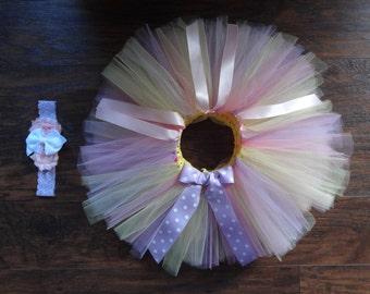 Yellow Pink Tutu/Easter Tutu/Easter Outfit/Lavender Tutu/Toddler Birthday Tutu/Baby Birthday Tutu/Cakesmash Tutu/Spring Tutu/Newborn Tutu