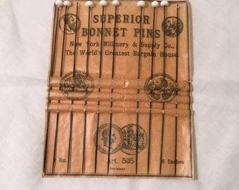 Antique Bonnet Pins w/ Store Card