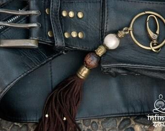 Tassel keychain, vegan leather, Buddha bead, vegan gift, keychain accessory, vegan bag, accessory bag, yoga gift, yoga bag, tassel key ring