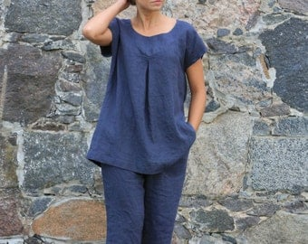 Linen Tunic Top, Linen Womens Clothing, Linen Blouse, Linen Top, Linen Shirt, Boho Blouse, Navy Blue Shirt, Plus Size Clothing Casual Blouse