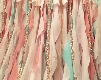 Mint Pink Peach Gold Backdrop Baby Shower, Mint and Peach Wedding, Wedding Backdrop, Nursery Curtains, Mint and Pink First Birthday Party