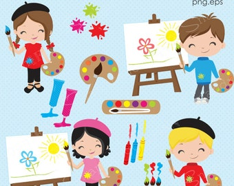 Art clipart, Artist clipart, Art Party clipart, Classroom clipart, Art, Artist, Painting, Craft, clip art, Commercial License Included