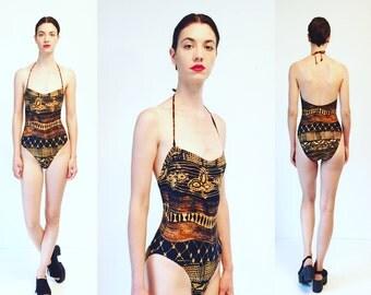 Vtg 80s Detachable Strap Bathing Suit One Piece Swimsuit