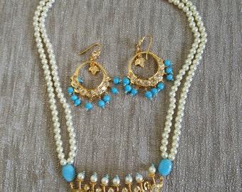 Eid special 10% off Tirmani Hyderabadi pearl necklace Ferozi, Jadua necklace, Jadua chandbali earring. Mughal Nizam Hydrabadi Jewellery