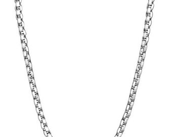 Stainless steel shiny diamond cut box style link 24 inch necklace for men
