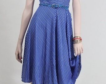 Vintage 1970s blue pinafore dress with white dots