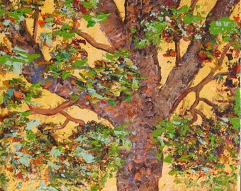 The Beltane Oak Tree painting, tree painting, impasto, tree art, oak tree painting, colorful tree painting,