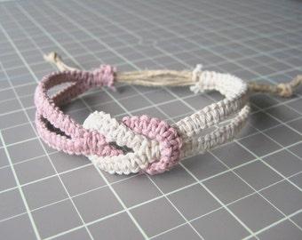 Infinity Hemp Bracelet - Pale Rose Pink & Cotton White - Natural and Adjustable