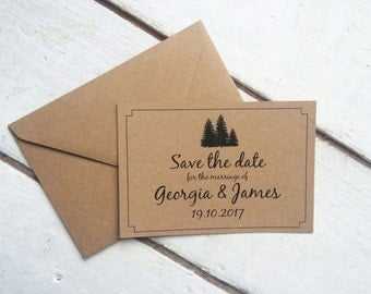 winter wedding save the date, rustic winter wedding, gold foil save the date