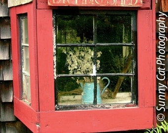 DRYING SHED - photograph, window, shed, Pickity Place, cottage, wall art, whimsical