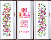 NAMES of 66 BIBLE BOOKS, bible journaling printable template bundle, illustrated faith journaling, bible verse study bookmarks stickers