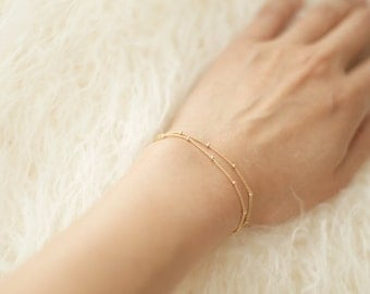 Dainty, Double-Layer, Satellite Chain, Gold Bracelet