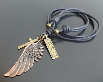 Angel Wing Necklace, wing necklace, Leather Wing Cross Necklace, Mens leather necklace, surfer necklace, Wing Pendant, leather wing pendant