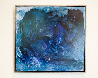 Riding the Wave - painting, abstract, decorative, wall-hanging, green, gold, blue