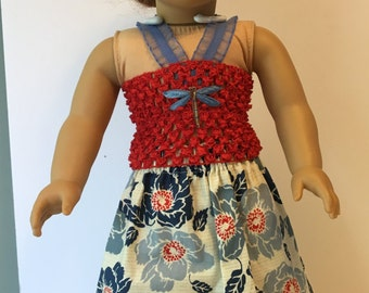 Long Floral 18in Doll Summer Dress