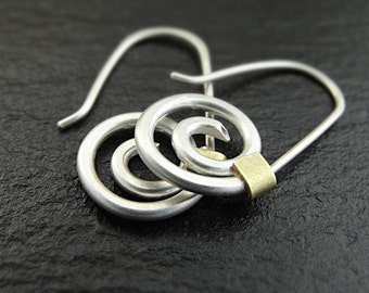 Earrings - Sterling Silver Spiral Earrings with Brass Accents - Handmade in Seattle