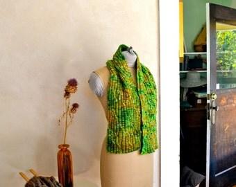 Hand Knit Scarf Hand Dyed Merino Wool Bright Green Multicolor Original Design Knitwear