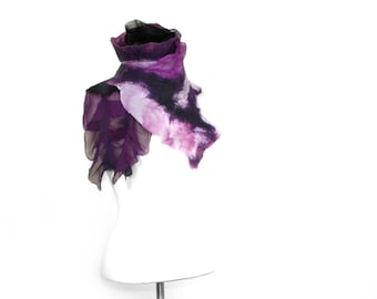 Soft Handmade Scarf Silk and Merino Wool Patchwork Unique Style So Many Ways To Wear Purple Pink Nuno Felting Gift For Her - READY TO SHIP