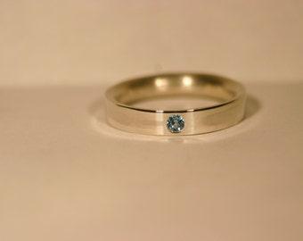 Custom Silver Birthstone Ring with Flush Set Gemstone - Made to Order